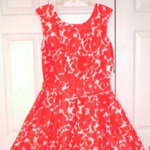 Danny & Nicole Orange Floral Pattern Dress, sz. 16